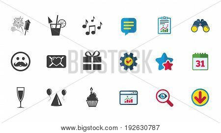 Party celebration, birthday icons. Musical notes, air balloon and champagne glass signs. Gift box, fireworks and cocktail symbols. Calendar, Report and Download signs. Stars, Service and Search icons