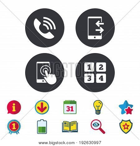 Phone icons. Touch screen smartphone sign. Call center support symbol. Cellphone keyboard symbol. Incoming and outcoming calls. Calendar, Information and Download signs. Stars, Award and Book icons