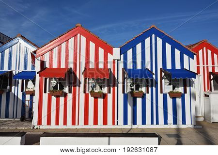 Costa Nova Portugal - June 09 2017: Famous resort on the Atlantic coast in Beira Litoral Portugal. Popular tourist destination to spend vacation time