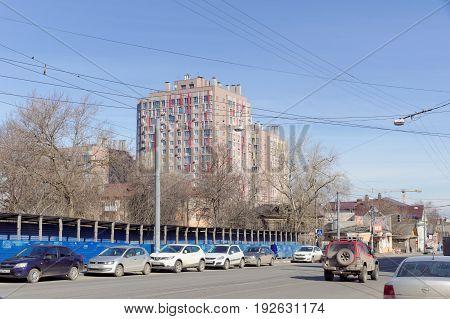 Nizhny Novgorod, Russia. - April 10.2017. View of Ilinskaya Street in the area of crossing with Maxim Gorky Street
