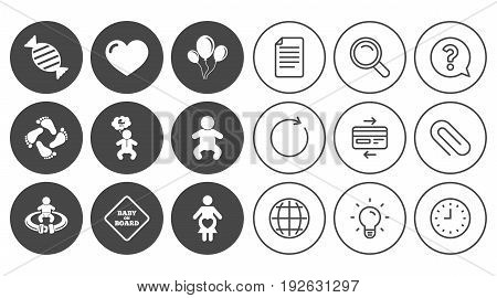 Pregnancy, maternity and baby care icons. Candy, strollers and fasten seat belt signs. Footprint, love and balloon symbols. Document, Globe and Clock line signs. Lamp, Magnifier and Paper clip icons