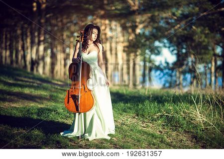 Girl in a green dress with a cello on a precipice over a river