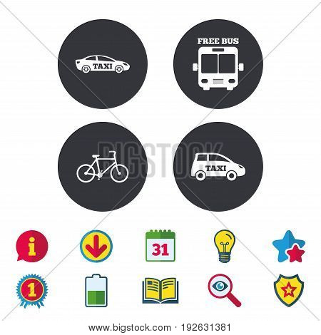 Public transport icons. Free bus, bicycle and taxi signs. Car transport symbol. Calendar, Information and Download signs. Stars, Award and Book icons. Light bulb, Shield and Search. Vector