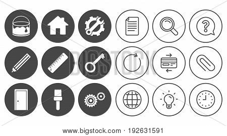 Repair, construction icons. Service, key and door signs. Painting, brush and pencil symbols. Document, Globe and Clock line signs. Lamp, Magnifier and Paper clip icons. Vector