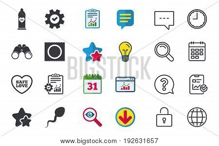Safe sex love icons. Condom in package symbol. Sperm sign. Fertilization or insemination. Chat, Report and Calendar signs. Stars, Statistics and Download icons. Question, Clock and Globe. Vector