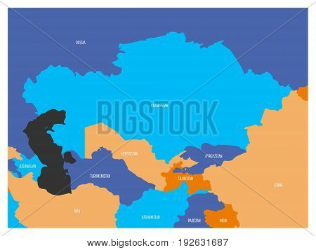 Map of Central Asia region with. Flat map in four colors with white country borders and state names.