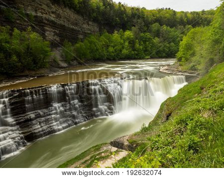 Waterfall in Letchworth state park New York. Long Exposure shot.