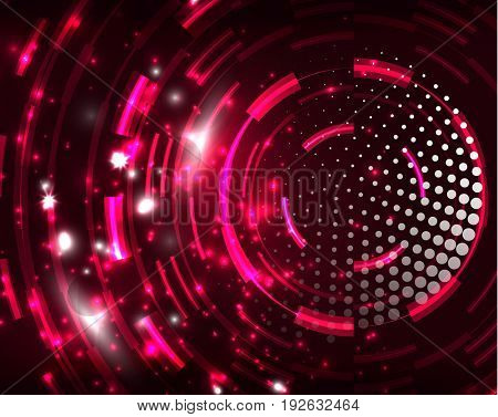 Neon red circles abstract pattern background