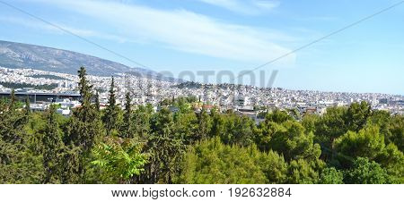 panoramic view - landscape of Athens city Greece
