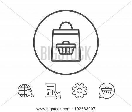 Shopping bag with cart line icon. Supermarket buying sign. Sale symbol. Hold Report, Service and Global search line signs. Shopping cart icon. Editable stroke. Vector