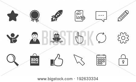 Online shopping, e-commerce and business icons. Start up, award and customers like signs. Big sale, shipment and favorite symbols. Chat, Report and Calendar line signs. Vector