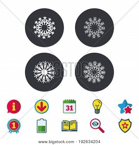 Snowflakes artistic icons. Air conditioning signs. Christmas and New year winter symbols. Calendar, Information and Download signs. Stars, Award and Book icons. Light bulb, Shield and Search. Vector