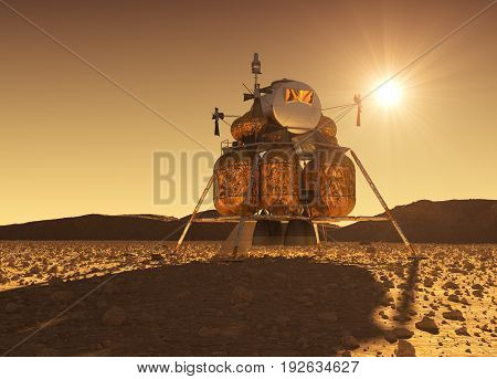 Descent Module Of Interplanetary Space Station On The Background Of Martian Sun. 3D Illustration.