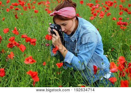 young girl in field of poppies pictures of flowers