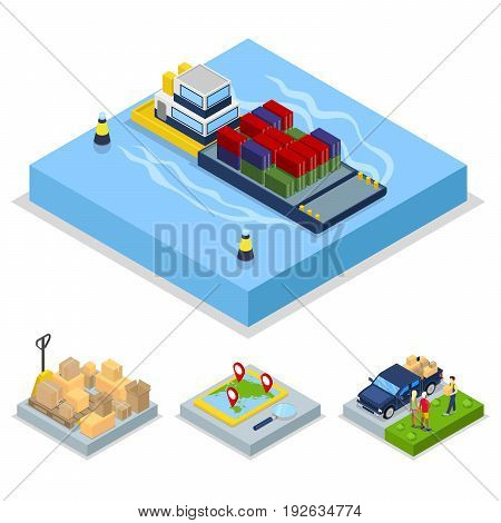 Isometric Delivery Concept. Worldwide Shipping, Freight Transportation. Vector flat 3d illustration