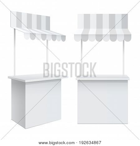 Promotion counter with a triangular roof covered with striped awning Retail Trade Stand Isolated on the white background. MockUp Template For Your Design. Vector illustration.