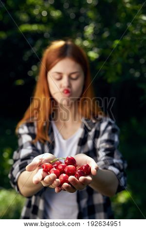 Cherry, berries, woman eating cherry, summer residence, summer, season, woman with berry.