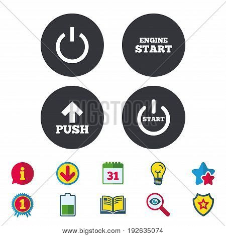 Power icons. Start engine symbol. Push or Press arrow sign. Calendar, Information and Download signs. Stars, Award and Book icons. Light bulb, Shield and Search. Vector