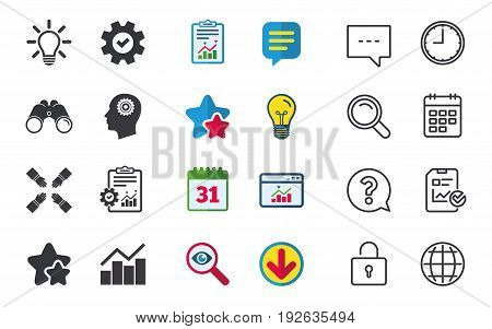 Lamp idea and head with gear icons. Graph chart diagram sign. Teamwork symbol. Chat, Report and Calendar signs. Stars, Statistics and Download icons. Question, Clock and Globe. Vector