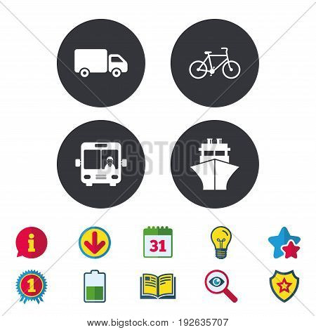 Transport icons. Truck, Bicycle, Public bus with driver and Ship signs. Shipping delivery symbol. Family vehicle sign. Calendar, Information and Download signs. Stars, Award and Book icons. Vector