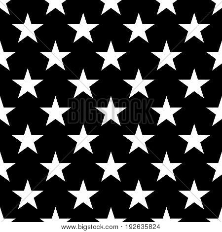 Seamless pattern of white five-pointed stars on black background. Vector illustration.