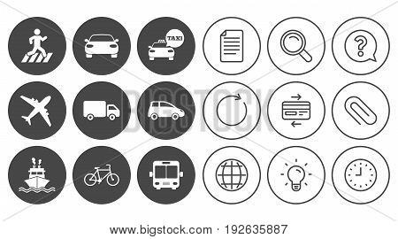 Transport icons. Car, bike, bus and taxi signs. Shipping delivery, pedestrian crossing symbols. Document, Globe and Clock line signs. Lamp, Magnifier and Paper clip icons. Vector