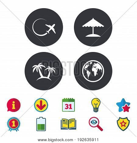 Travel trip icon. Airplane, world globe symbols. Palm tree and Beach umbrella signs. Calendar, Information and Download signs. Stars, Award and Book icons. Light bulb, Shield and Search. Vector
