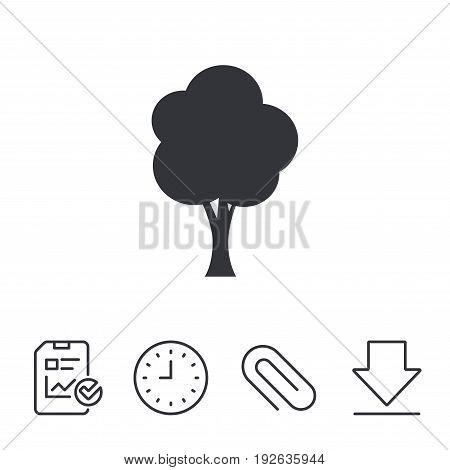 Tree sign icon. Forest symbol. Report, Time and Download line signs. Paper Clip linear icon. Vector