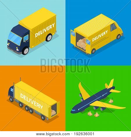 Isometric Delivery Concept. Air Cargo Plane Freight Transportation, Truck. Vector flat 3d illustration