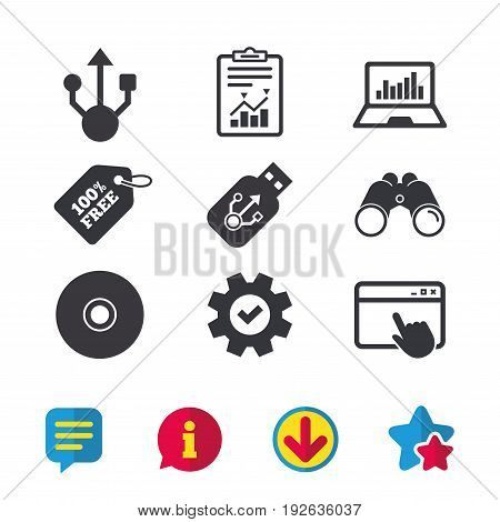 Usb flash drive icons. Notebook or Laptop pc symbols. CD or DVD sign. Compact disc. Browser window, Report and Service signs. Binoculars, Information and Download icons. Stars and Chat. Vector