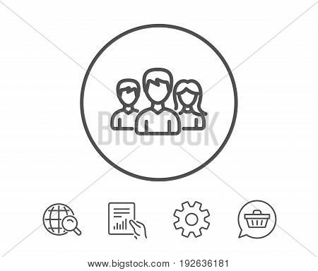 Group line icon. Users or Teamwork sign. Male and Female Person silhouette symbol. Hold Report, Service and Global search line signs. Shopping cart icon. Editable stroke. Vector
