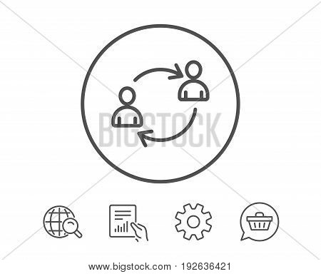 Teamwork line icon. User communication or Human resources. Profile Avatar sign. Person silhouette symbol. Hold Report, Service and Global search line signs. Shopping cart icon. Editable stroke. Vector