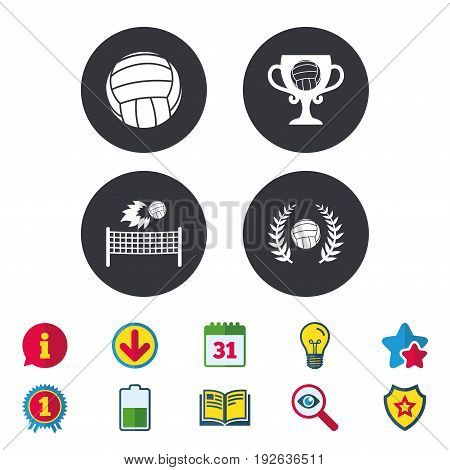 Volleyball and net icons. Winner award cup and laurel wreath symbols. Beach sport symbol. Calendar, Information and Download signs. Stars, Award and Book icons. Light bulb, Shield and Search. Vector