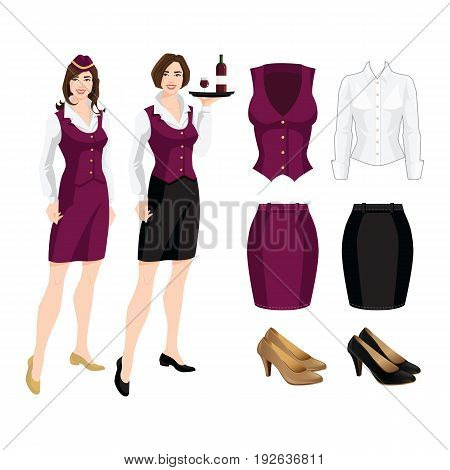 Vector illustration of corporate dress code. Formal suit and shoes isolated on white background. Young brunette women in uniform.