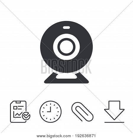 Webcam sign icon. Web video chat symbol. Camera chat. Report, Time and Download line signs. Paper Clip linear icon. Vector