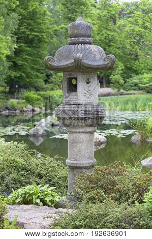 Japanese Garden exotic plants stone lantern Wroclaw Poland. The Japanese Garden was founded in 1909-1913