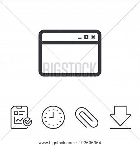 Browser window icon. Internet page symbol. Website empty template sign. Report, Time and Download line signs. Paper Clip linear icon. Vector