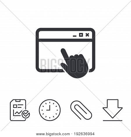 Click page icon. Browser window symbol. Website or internet sign. Report, Time and Download line signs. Paper Clip linear icon. Vector