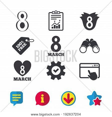 8 March Women's Day icons. Tulip or rose flower and heart sign symbols. Browser window, Report and Service signs. Binoculars, Information and Download icons. Stars and Chat. Vector