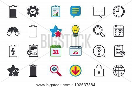 Battery charging icons. Electricity signs symbols. Charge levels: full, empty. Chat, Report and Calendar signs. Stars, Statistics and Download icons. Question, Clock and Globe. Vector