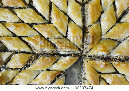 Image of a Turkish Ramadan Dessert Baklava with walnuts