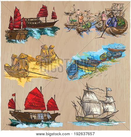Boats and Ships around the World.Collection of an hand drawn colored vector illustrations.Each drawing comprises of three or four layers of lines and colored background.Wood texture is also isolated.