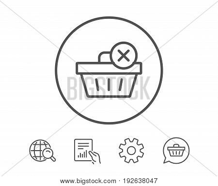 Remove Shopping cart line icon. Online buying sign. Supermarket basket symbol. Hold Report, Service and Global search line signs. Shopping cart icon. Editable stroke. Vector
