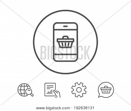Mobile Shopping cart line icon. Smartphone Online buying sign. Supermarket basket symbol. Hold Report, Service and Global search line signs. Shopping cart icon. Editable stroke. Vector