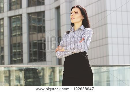 Success And Confidence. Portrait Of Attractive And Beautiful Business Woman In Smart Casual Wear Kee