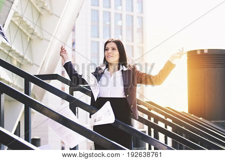 Throw It Away. Portrait Of Beautiful Business Woman In Smart Casual Clothes Throwing Paper Documents