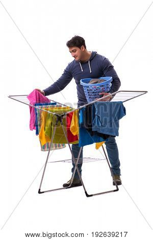 Husband man doing laundry isolated on white