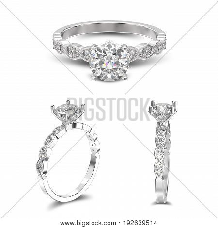 3D illustration three view of white gold or silver ring with diamonds with shadow on a white background