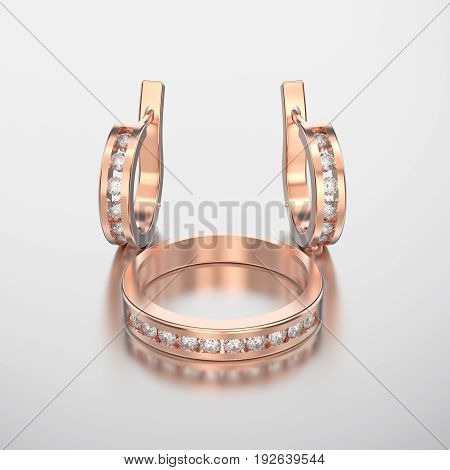 3D illustration rose gold diamond ring and diamond earring with reflection on a grey background