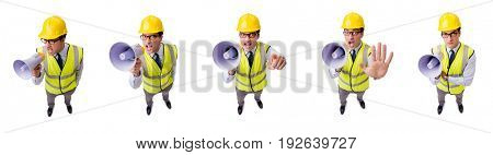 The angry construction supervisor isolated on white